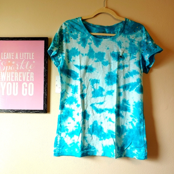 Style & Co tie dye burnout tee embellished nwt